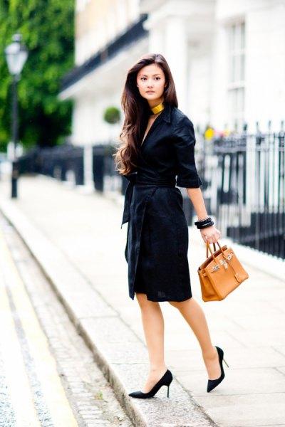 half-heated wrap dress black heels