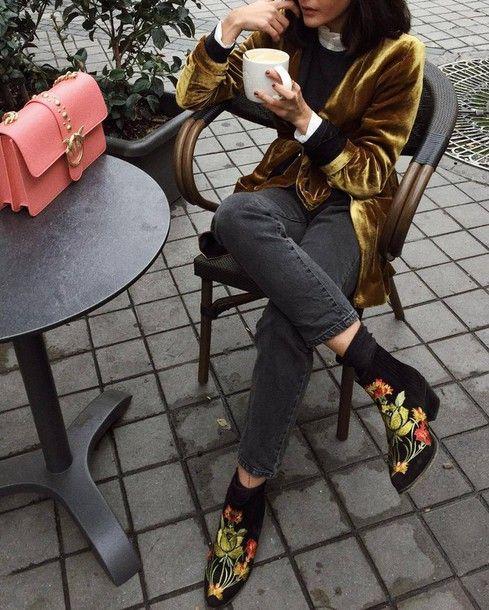 embroidered floral booties velvet jacket