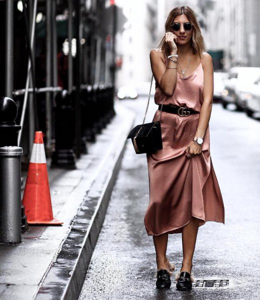pink gold belt midi silk dress