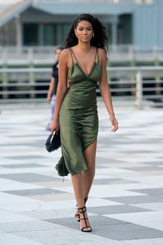 green deep midi silk dress with v-neck