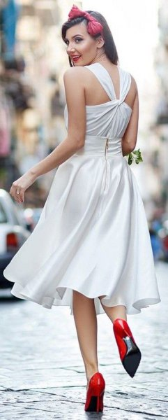 white fit and flare midi silk dress