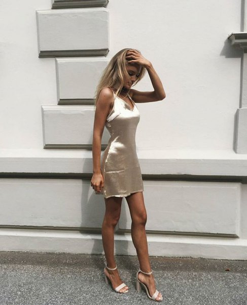 gold bodycon silk dress white open toe heels