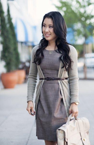 light gray belt cardigan sheath dress