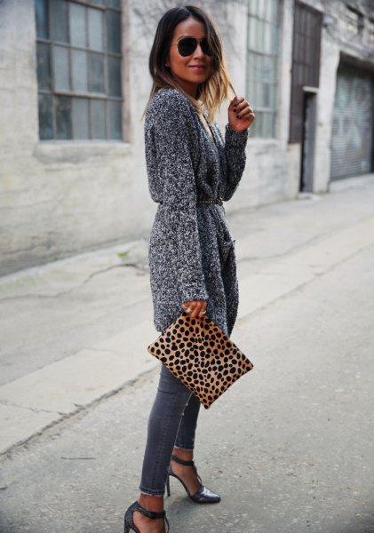 gray belt knit cardigan skinny jeans