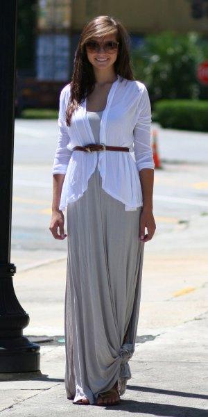 white belt cardigan gray maxi dress