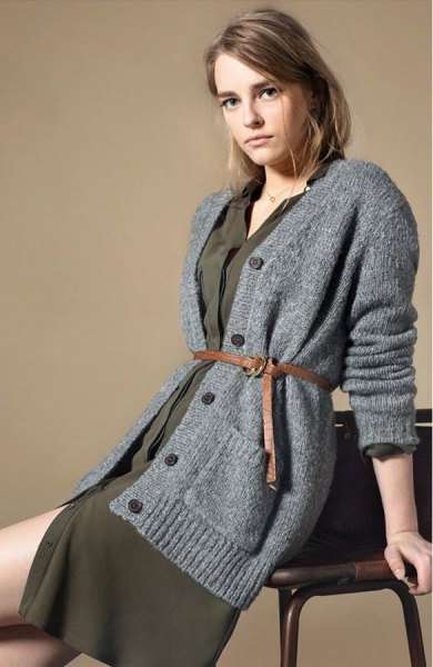 gray oversized knitted cardigan green shift dress