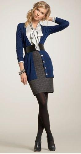 dark blue cardigan gray side top
