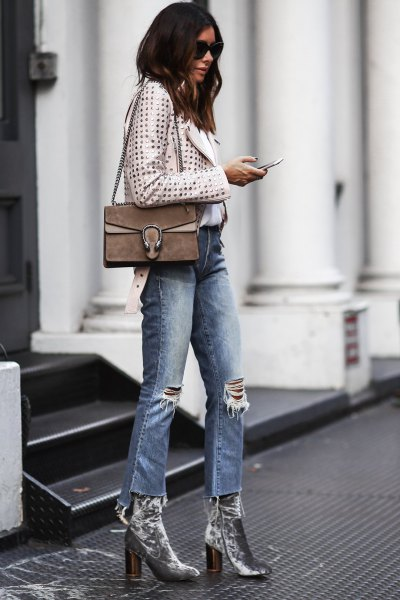 polka dot short jacket silver velvet ankle boots
