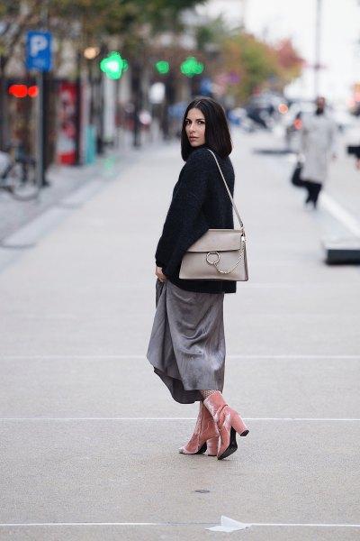 pink velvet ankle boots gray maxi skirt