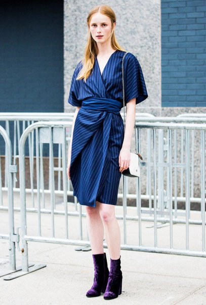 blue and white striped tie waist dress