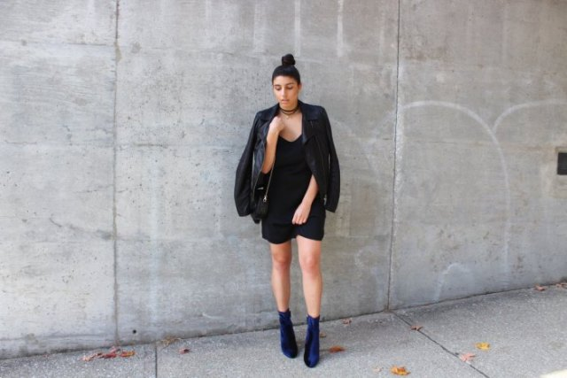 black leather jacket shift dress blue boots