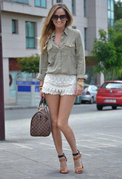 white lace shorts gray button up shirt