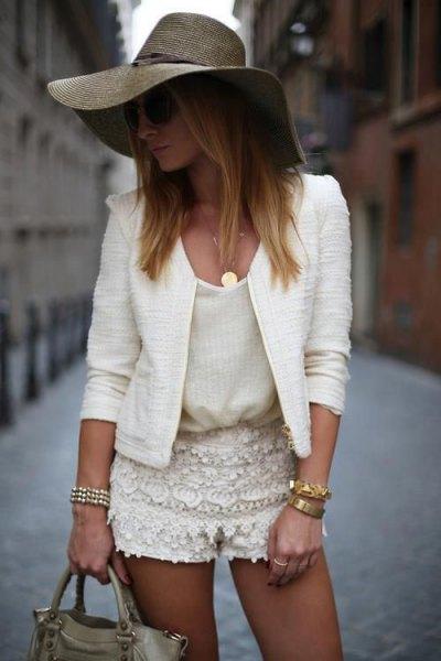 white tank linen blazer