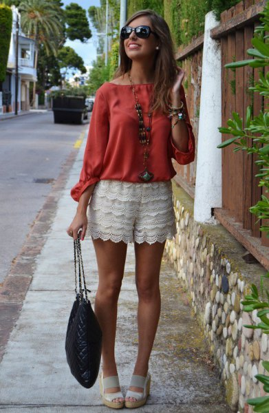 red blouse white sandals outfit