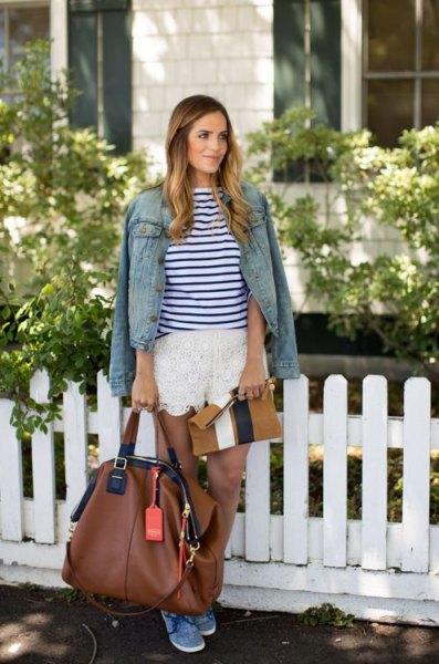 blue and white striped tee denim jacket draped
