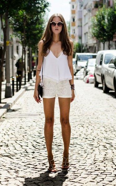 white deep v-neck tunic top lace shorts