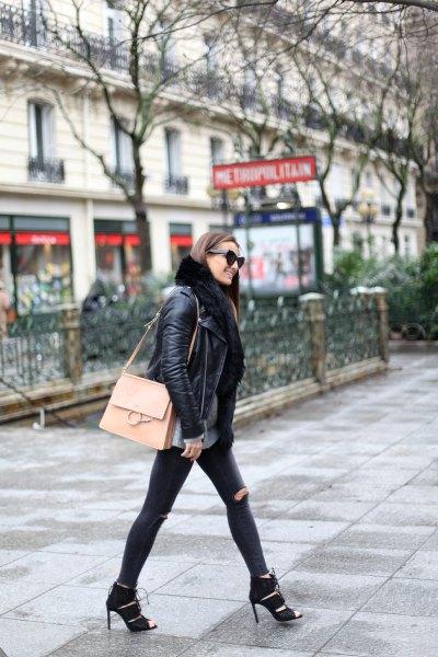 leather jacket black fur collar