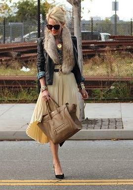 black leather jacket plaid midi-flare skirt