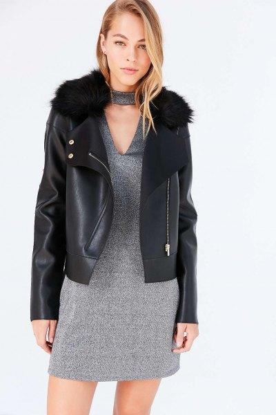 black leather jacket heather gray v-neck shift dress