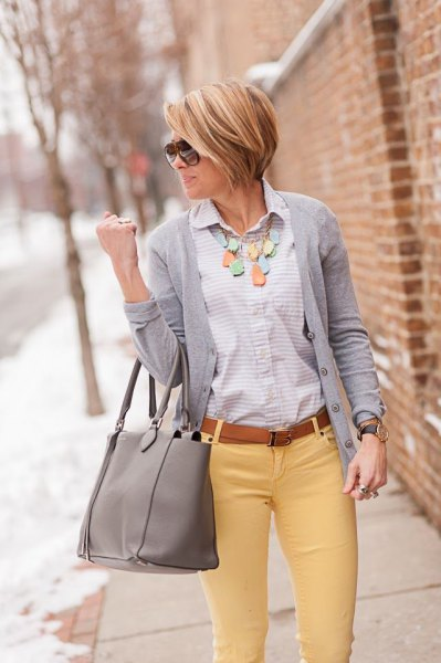 button up shirt gray cardigan