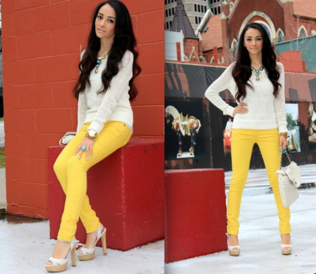 white knit sweater yellow skinny jeans