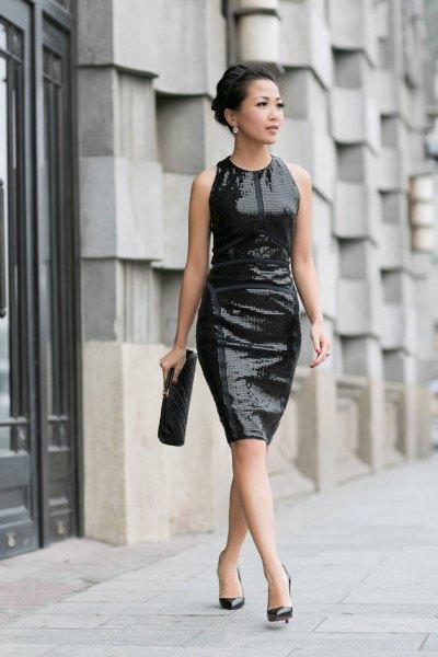black sequin dress with heels