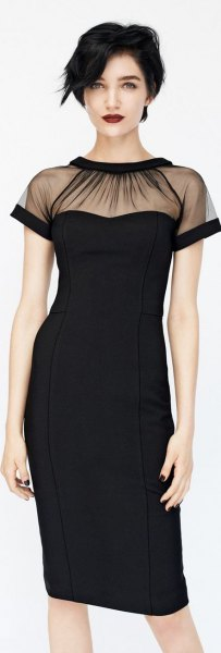 black mantle dress with clean collar
