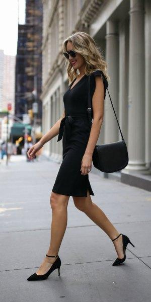 tie waist black robe dress
