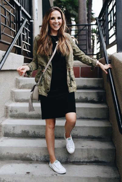 military jacket white sneakers