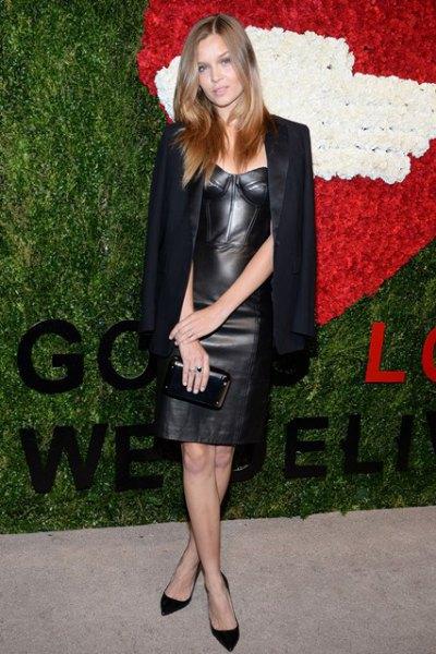 black blazer leather dress