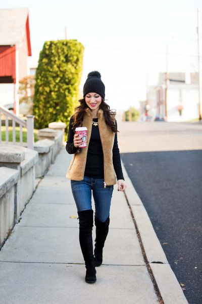 camel fleece vest jeans thigh high boots