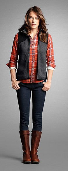 gray fleece vest red checkered shirt