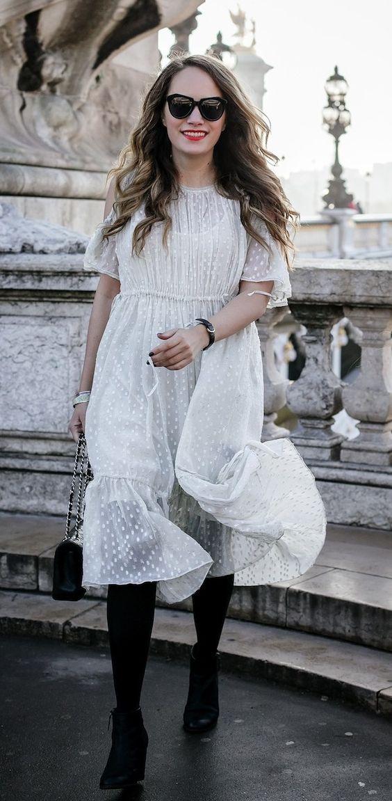 white chiffon dress confetti