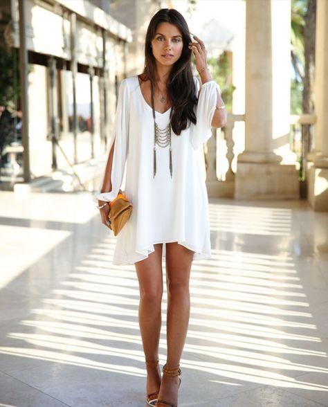 white chiffon dress flattering