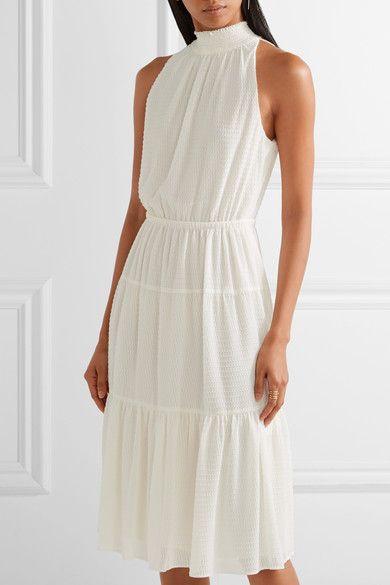 white chiffon dress halter ring