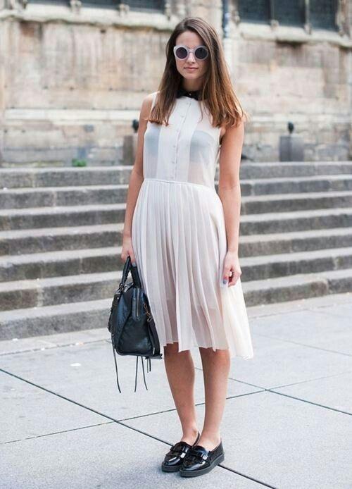 white chiffon dress folds