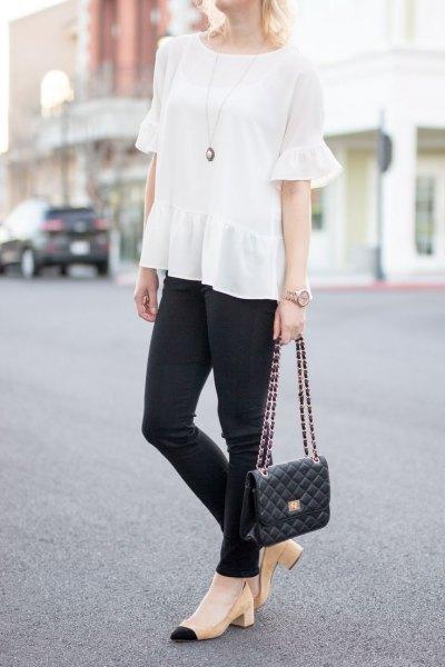 black skinny jeans light pink heels
