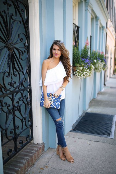 a shoulder ruffle top ripped jeans