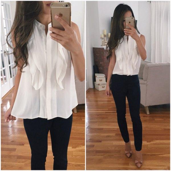 ruff chiffon blouse black skinny jeans