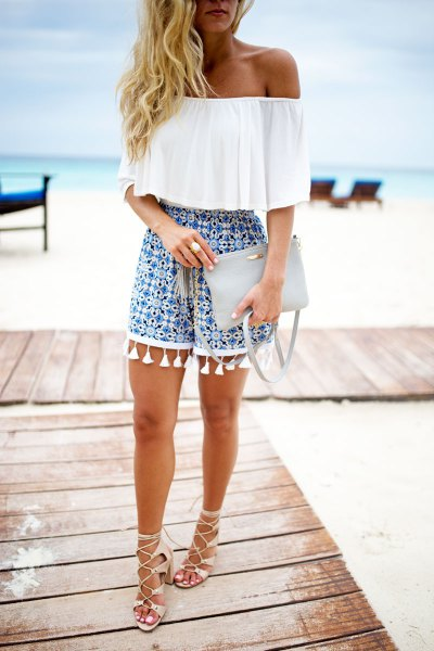 of the shoulders white top blue printed shorts