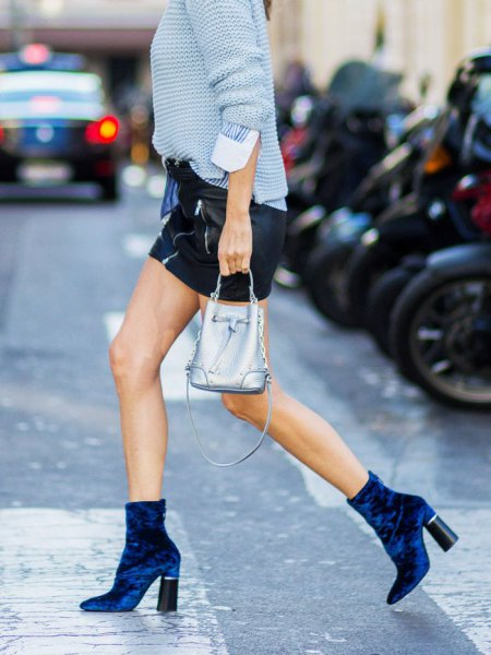 sky blue knitted sweater suede ankle boots
