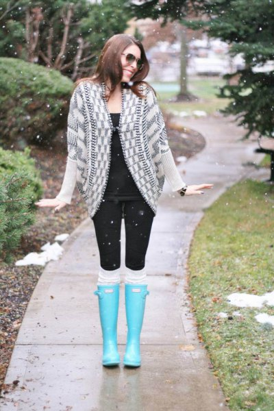 light blue knee high rain shoes