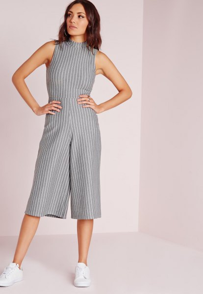 gray and white striped high neck jumpsuit