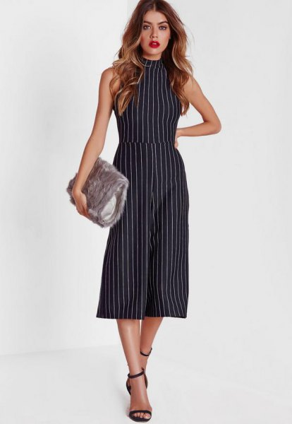Sleeveless striped culott jumpsuit with high neck