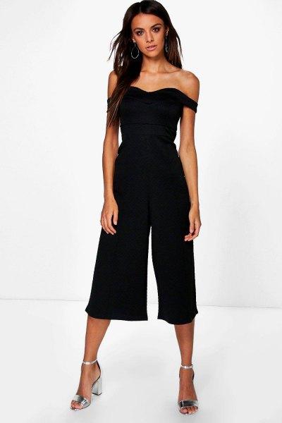 from the shoulder black culotte jumpsuit