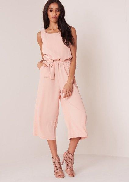 light pink tie waist jumpsuit strappy sandals