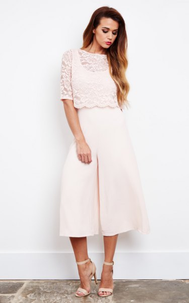 white culotte jumpsuit lace overlay