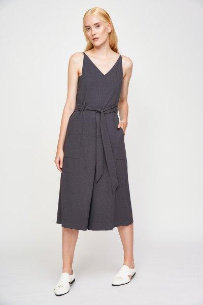 gray v-neck in waist jumpsuit