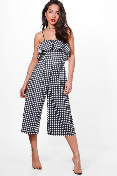 black and white plaid ruffle culotte jumpsuit
