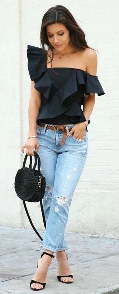 a shoulder black ruffle top boyfriend jeans